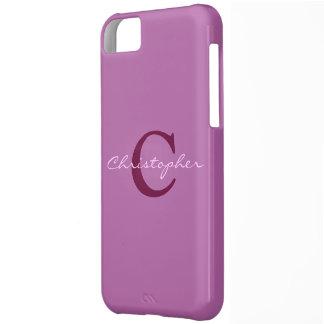 Monograma caja púrpura initital del iphone 5c de