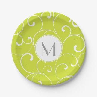 Monograma caprichoso moderno de la verde lima de plato de papel de 7 pulgadas