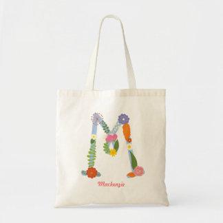 Monograma caprichoso rústico de la flor (m) bolsa tela barata
