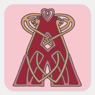 Monograma céltico A de la inicial de la letra del Pegatina Cuadrada