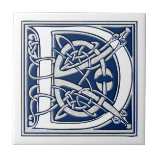 Monograma céltico de D Azulejo Cuadrado Pequeño