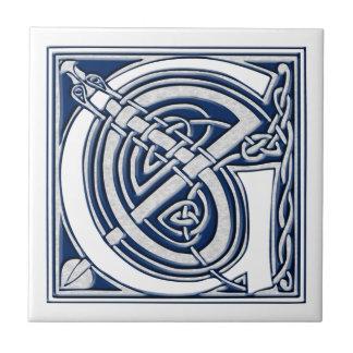 Monograma céltico de G Azulejo Cuadrado Pequeño
