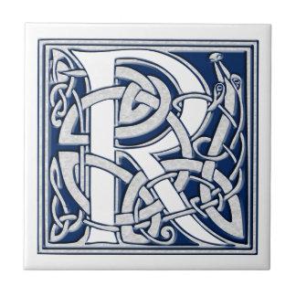 Monograma céltico de R Azulejo Cuadrado Pequeño