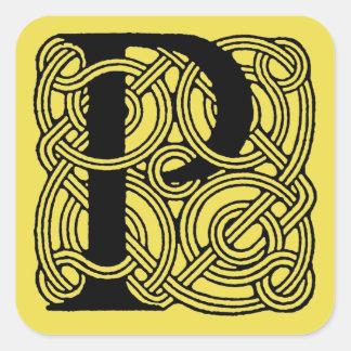 Monograma céltico del nudo del vintage de la letra calcomanía cuadradas personalizadas