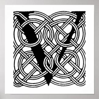 Monograma céltico del nudo del vintage de la letra póster