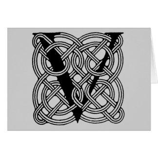 Monograma céltico del nudo del vintage de la letra tarjeta de felicitación