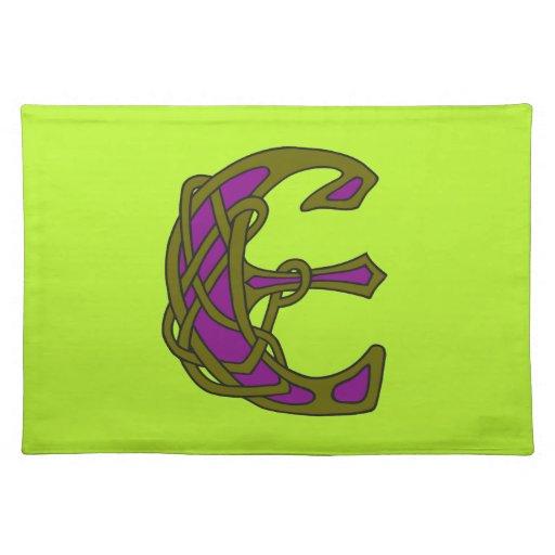 Monograma céltico E de la inicial de la letra del  Mantel Individual