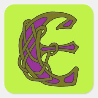 Monograma céltico E de la inicial de la letra del Pegatina Cuadrada