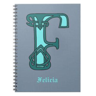 Monograma céltico F de la inicial de la letra del  Libro De Apuntes Con Espiral