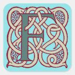 Monograma céltico F de la inicial de la letra del Pegatina Cuadrada