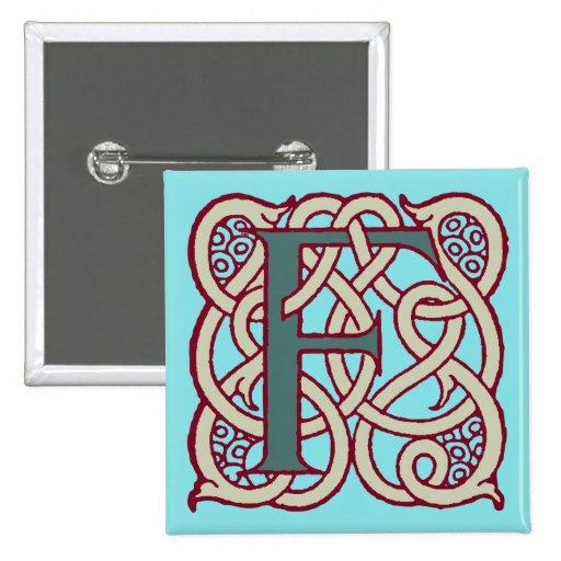 Monograma céltico F de la inicial de la letra del  Pins