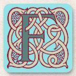 Monograma céltico F de la inicial de la letra del  Posavasos