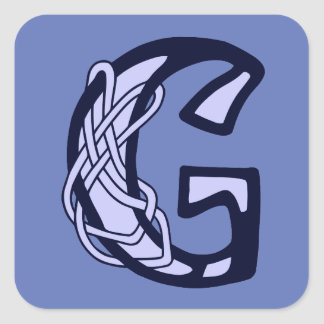 Monograma céltico G de la inicial de la letra del Pegatina Cuadrada