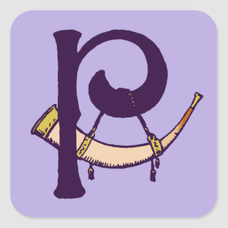 Monograma céltico P de la inicial de la letra del Pegatina Cuadrada