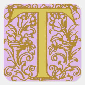Monograma céltico T de la inicial de la letra del Pegatina Cuadrada
