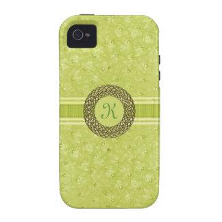 Monograma chartreuse elegante de la mirada del cue iPhone 4/4S funda