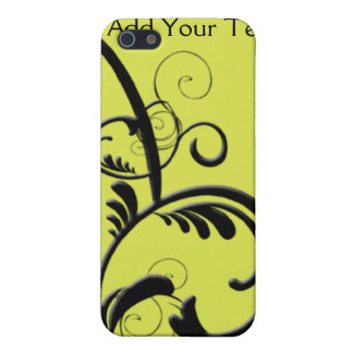 Monograma chartreuse y negro afiligranado iPhone 5 carcasas