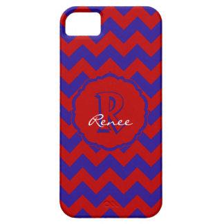 Monograma Chevron, caja Rojo-Azul del SC del iPhone 5 Carcasas