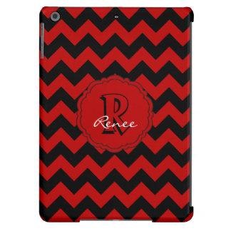 Monograma Chevron, caja Rojo-Negra del SC del aire Funda Para iPad Air