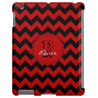 Monograma Chevron, caja Rojo-Negra del SC del iPad Funda Para iPad