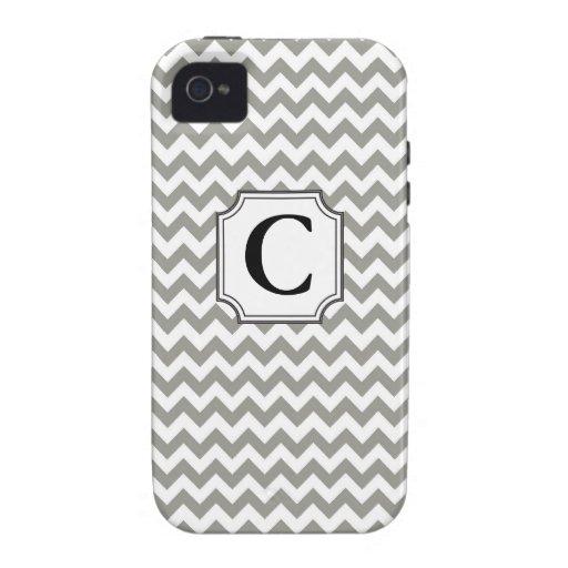Monograma Chevron - caso del iPhone Case-Mate iPhone 4 Funda