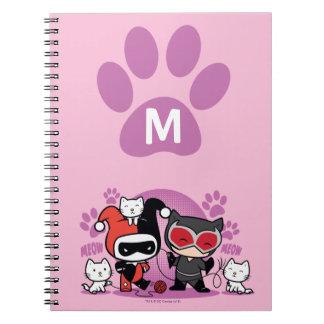 Monograma Chibi Harley Quinn y Catwoman con los Libreta