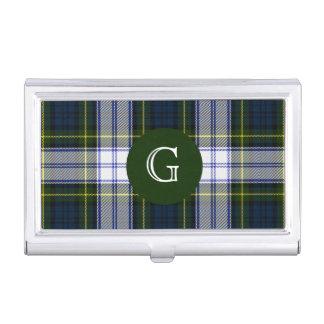 Monograma clásico de la tela escocesa de tartán cajas de tarjetas de visita