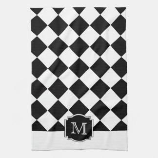 Monograma clásico de los diamantes - blanco negro toallas