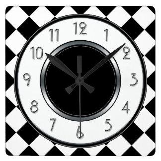 Monograma clásico de los diamantes - blanco negro reloj cuadrado