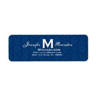 Monograma clásico del boda de los azules marinos etiqueta de remite