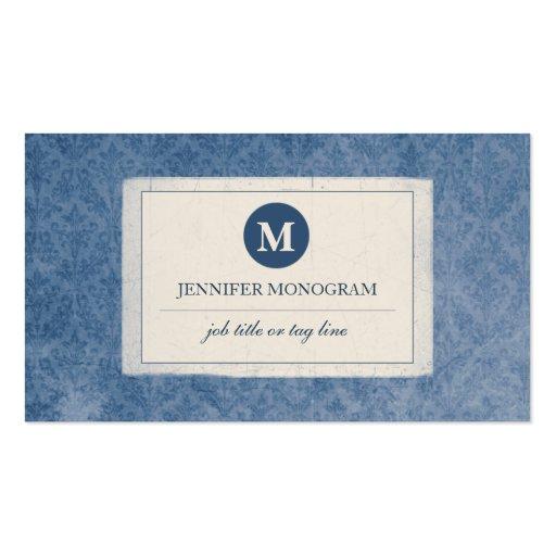 Monograma clásico del damasco del vintage (azul) tarjetas de visita