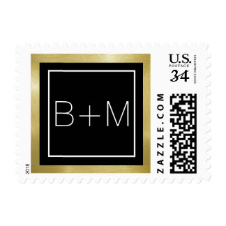 monograma clásico elegante del boda sello postal