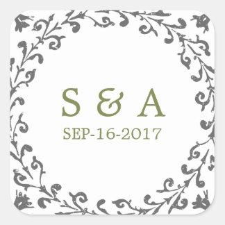 Monograma clásico formal elegante del boda del pegatina cuadrada