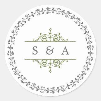 Monograma clásico formal elegante del boda del pegatina redonda