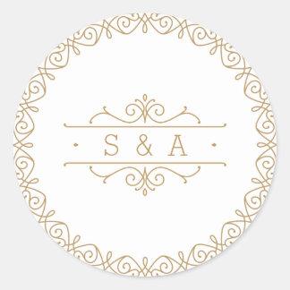 Monograma clásico moderno elegante del boda del pegatina redonda