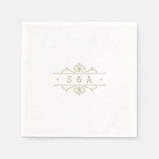 Monograma clásico moderno elegante del boda del servilleta de papel