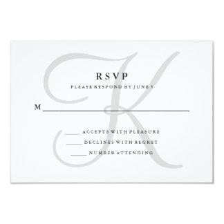 """Monograma clásico moderno en RSVP gris Invitación 3.5"""" X 5"""""""