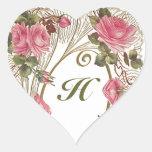 Monograma color de rosa antiguo personalizado colcomanias corazon personalizadas