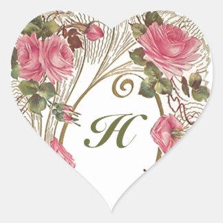 Monograma color de rosa antiguo personalizado pegatina en forma de corazón