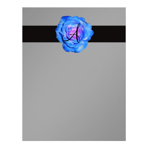 """Monograma color de rosa azul folleto 8.5"""" x 11"""""""