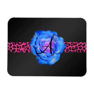 Monograma color de rosa azul iman