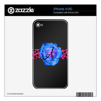 Monograma color de rosa azul skins para iPhone 4
