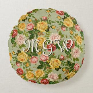 Monograma color de rosa floral del país bonito del cojín redondo