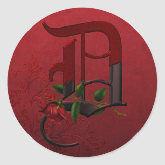 Monograma color de rosa gótico D Pegatina
