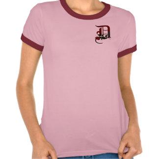 Monograma color de rosa gótico D Camiseta