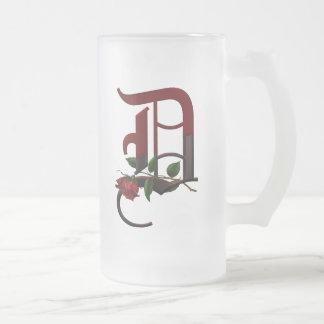 Monograma color de rosa gótico D Tazas De Café