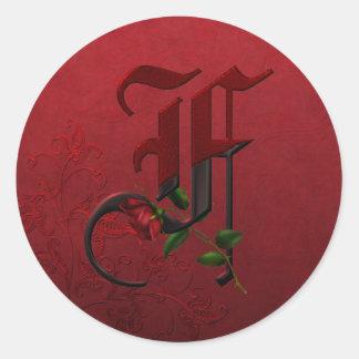 Monograma color de rosa gótico F Etiquetas