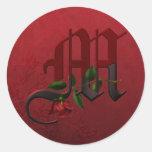 Monograma color de rosa gótico M Etiqueta