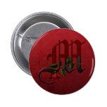 Monograma color de rosa gótico M Pin