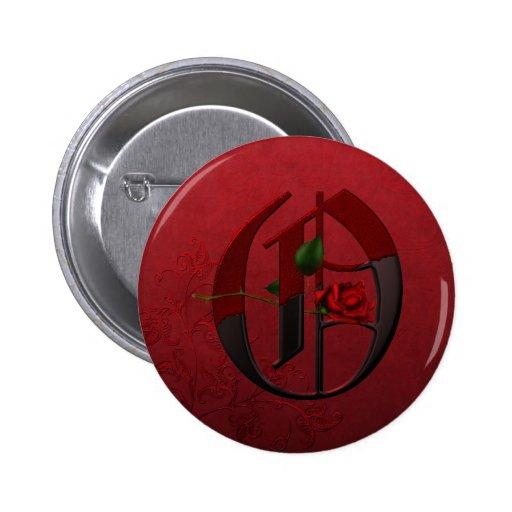 Monograma color de rosa gótico O Pin